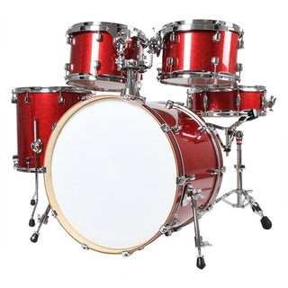 X8 Drums Journey Series Mixed Maple 5 Piece Drum Set, Red Sparkle