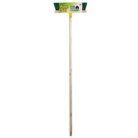 Pine-Sol Push Broom 12 inch with Wood Handle