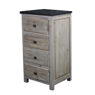Rustic Style Drawer Cabinet with Dark Limestone Top