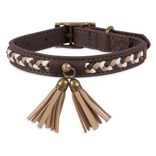 MuttNation Fueled by Miranda Lambert Faux Leather Brown Tassel Custom Fit Dog Collar