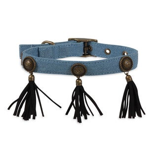 MuttNation Fueled by Miranda Lambert Denim Blue Concho & Fringe Custom Fit Dog Collar