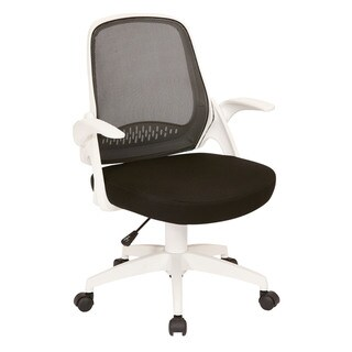 OSP Home Furnishings Jackson Fabric Office Chair with Mesh Back and White Frame including Flip Arms