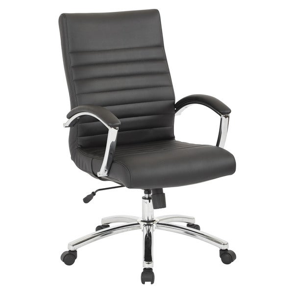 Work Smart Black Faux-leather Executive Mid-back Chair with Padded Arms and Chrome-finished Base