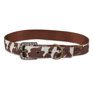 MuttNation Fueled by Miranda Lambert Brown Cowhide Print Custom Fit Dog Collar