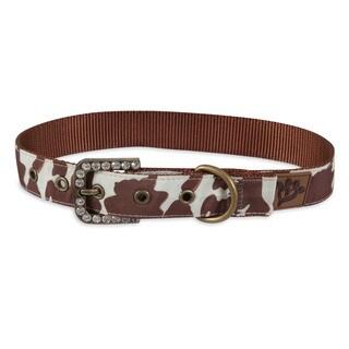 MuttNation Fueled by Miranda Lambert Brown Cowhide Print Custom Fit Dog Collar