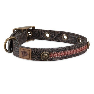 MuttNation Fueled by Miranda Lambert Tooled Brown Leather Ikat Ribbon Custom Fit Dog Collar