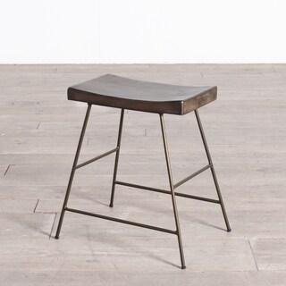 Handmade Iron + Wood Saddle Dining Stool (India)