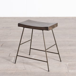 Handmade Iron + Wood Saddle Dining Stool (India)