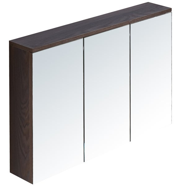 InFurniture Grey/Brown Finish Wood and Glass 35.4-inch Medicine Cabinet