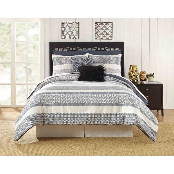 Presidio Square Deco Striped 7-piece Comforter Set