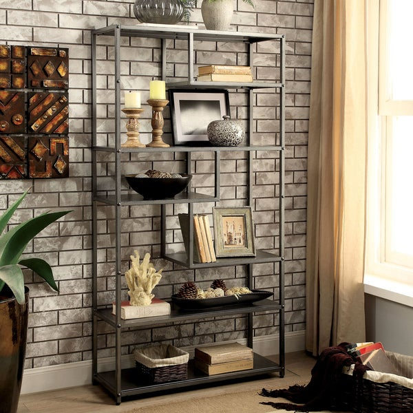 furniture of america logan dark grey industrial metal tiered bookshelf - Overstock Bookshelves
