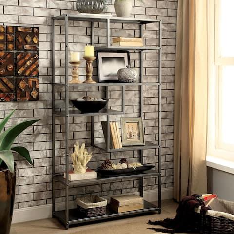 Furniture of America Logan Dark Grey Industrial Metal Tiered Bookshelf