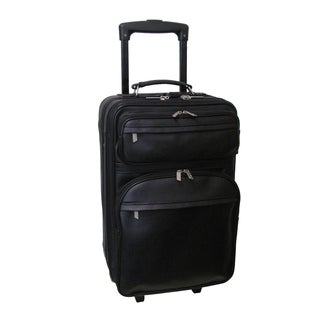 Amerileather Pullman Black Leather 22-inch Expandable Upright Suitcase