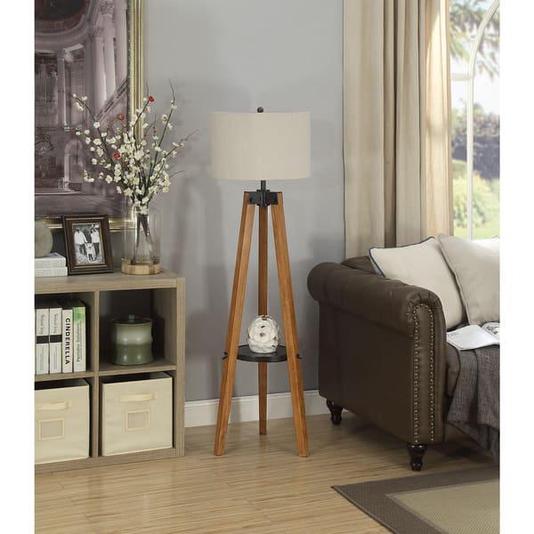 Hudson Warm Wood Tripod Floor Lamp
