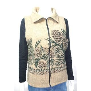Mazmania Looped Wool Pine Cone Vest