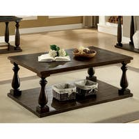 Furniture of America Besser Plank Style Dark Walnut Open Shelf Coffee Table