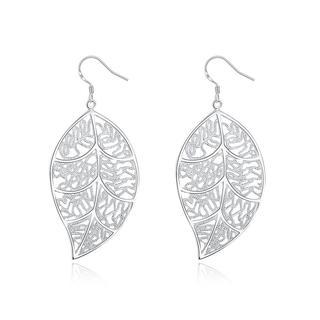 Hakbaho Jewelry Sterling Silver Laser Cut Filigree Leaf Earring
