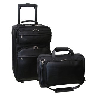 Amerileather Black Leather 2-piece Luggage Set