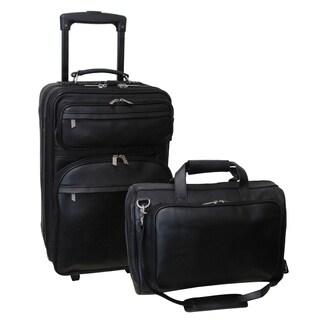 Amerileather Black Leather 2-piece Luggage Set