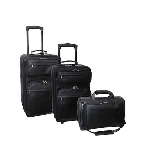Amerileather Black Leather 3-Piece Luggage Set