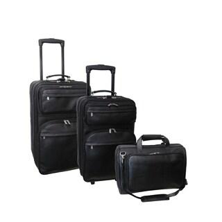 Amerileather Black Leather 3-Piece Luggage Set
