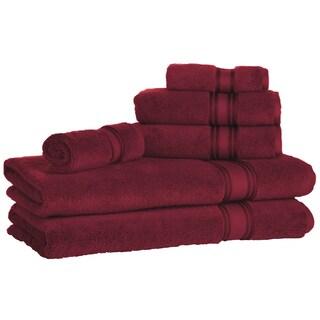 Lezeth Collection-Super Absorb 100% Cotton Zero-Twist 6-piece Towel Set (Option: Burgundy)