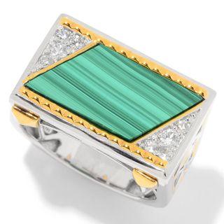 Michael Valitutti Palladium Silver Malachite & White Zircon East-West Men's Ring