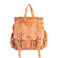 Diophy Leather Roomy Vintage-dye Backpack