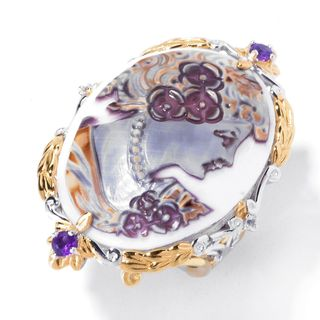 Michael Valitutti Palladium Silver Hand-Carved Tiger Shell Cameo, Amethyst & White Sapphire Ring