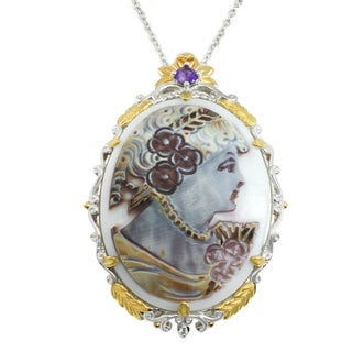 Michael Valitutti Palladium Silver Hand-Carved Tiger Shell Cameo, Amethyst & White Sapphire Pendant
