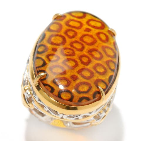 Michael Valitutti Palladium Silver Carved Amber Leopard Print Intaglio & Orange Sapphire Ring