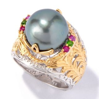 Michael Valitutti Palladium Silver South Sea Cultured Pearl & Gem Ring