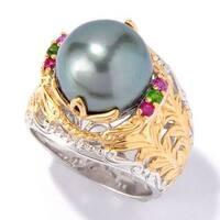 Michael Valitutti Palladium Silver South Sea Cultured Pearl & Gem Ring