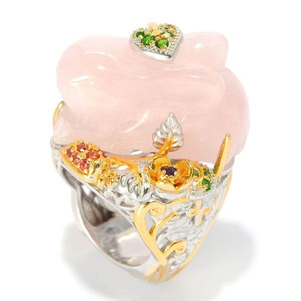 Michael Valitutti Palladium Silver Carved Rose Quartz Bunny & Multi Gem Ring