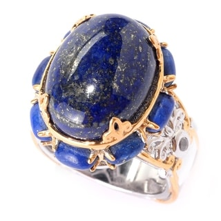 Michael Valitutti Palladium Silver Oval Lapis Lazuli & White Zircon North-South Ring