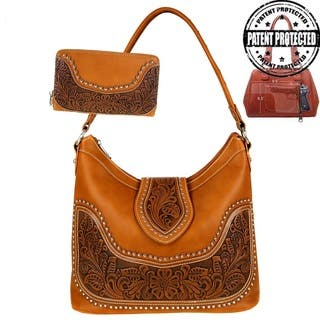Montana West Tooling Collection Concealed Handgun Hobo Bag & Wallet Set|https://ak1.ostkcdn.com/images/products/15923614/P22325811.jpg?impolicy=medium
