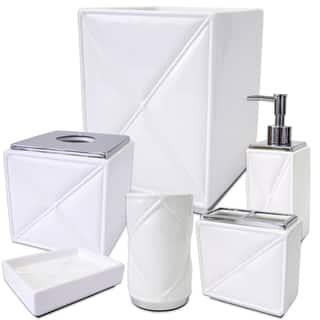 black crackle bathroom accessories. Quilt White Chrome 6 Piece Bath Accessory Set or Separates Bathroom Accessories For Less  Overstock com