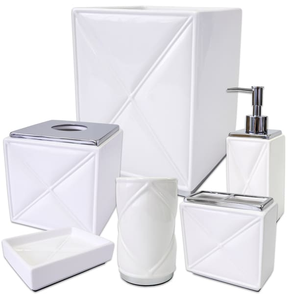 Quilt White/Chrome 6-Piece Bath Accessory Set or Separates