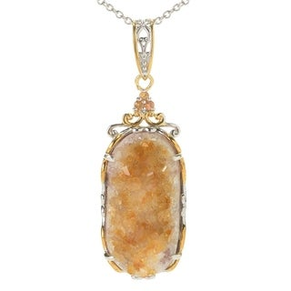Michael Valitutti Palladium Silver Citrine Geode & Orange Sapphire Pendant