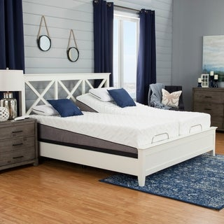 Sleep Zone Pacifica 12-inch Split California King-size Memory Foam Mattress and Adjustable Bed Set