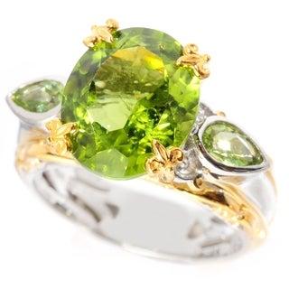 Michael Valitutti Palladium Silver Oval & Pear Shaped Peridot Ring