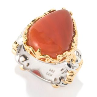 Michael Valitutti Palladium Silver Pearshaped Orange Carnelian Band Ring