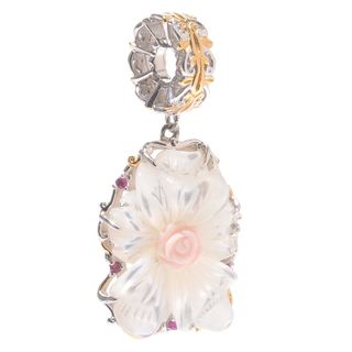 Michael Valitutti Palladium Silver Carved Mother-of-Pearl, Pink Conch Shell & Ruby Flower Charm
