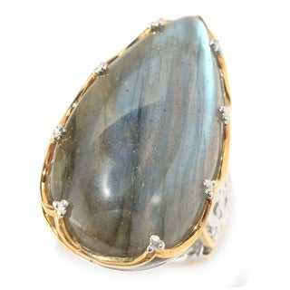 Michael Valitutti Palladium Silver Pear Shaped Labradorite Elongated Ring