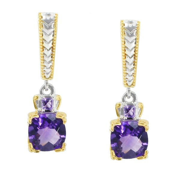 Michael Valitutti Palladium Silver Cushion African Amethyst Checktop Earring
