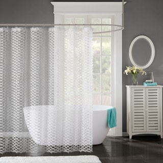 Madison Park Bailey Lined Clip Shower Curtain