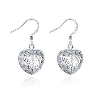 Sterling Silver Laser Cut Heart Shaped Drop Earring