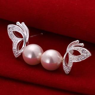 Sterling Silver Wings & Coral Faux Pearl Earring