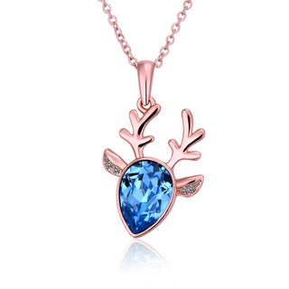 Rose Gold Plated Blue Moose Antlers CZ Necklace