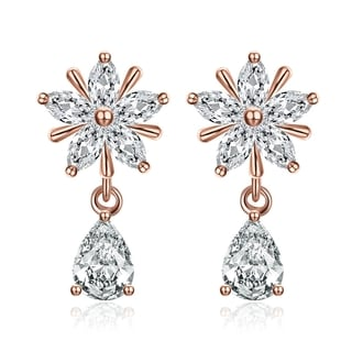 Hakbaho Jewelry Rose Gold Plated Cubic Zircon Drop Studs